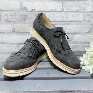 Limelight Gray Fringe Moccasins Shoes - Size 6